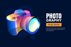 Wektorowej rozjarzonej neonowej fotografii pracowniany plakat lub sztandaru tło Kolorowa 3d stylu fotografii kamera ilustracji
