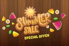 Wektorowej sammer sprzedaży horyzontalny sztandar z tekstem, lato zieloną trawą lata, świeże cytryny, kwiaty i plasterek arbuz, Zdjęcie Stock