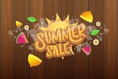Wektorowej sammer sprzedaży horyzontalny sztandar z tekstem, lato zieloną trawą lata, świeże cytryny, kwiaty i plasterek arbuz, Fotografia Stock