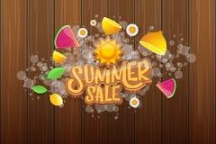 Wektorowej sammer sprzedaży horyzontalny sztandar z tekstem, lato zieloną trawą lata, świeże cytryny, kwiaty i plasterek arbuz, Obraz Royalty Free