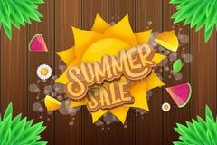 Wektorowej sammer sprzedaży horyzontalny sztandar z tekstem, lato zieloną trawą lata, świeże cytryny, kwiaty i plasterek arbuz, Obrazy Royalty Free