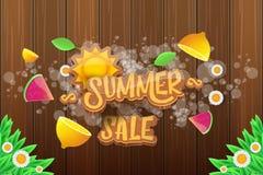 Wektorowej sammer sprzedaży horyzontalny sztandar z tekstem, lato zieloną trawą lata, świeże cytryny, kwiaty i plasterek arbuz, Fotografia Royalty Free