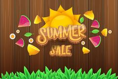 Wektorowej sammer sprzedaży horyzontalny sztandar z tekstem, lato zieloną trawą lata, świeże cytryny, kwiaty i plasterek arbuz, Zdjęcie Royalty Free