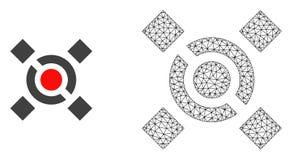 Wektorowej sieci siatki centrali Kulisowa i Płaska ikona ilustracji