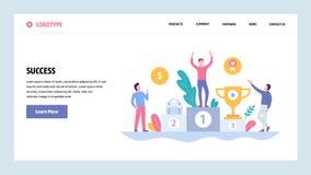 Wektorowej strony internetowej projekta gradientowy szablon Biznesowy sukces, zwycięzca na odgórnej pozycji z nagrodą r royalty ilustracja