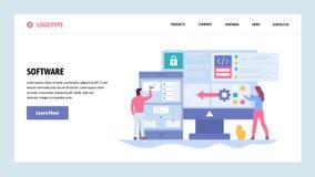 Wektorowej strony internetowej projekta gradientowy szablon Rozwój oprogramowania i zastosowania cyfrowanie Saftware engenieer pi royalty ilustracja