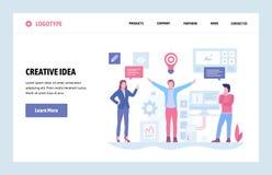 Wektorowej strony internetowej sztuki projekta liniowy szablon Kreatywnie pomysł i biznesowy rozwiązania pojęcie Desantowa strona royalty ilustracja