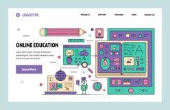 Wektorowej strony internetowej sztuki projekta liniowy szablon Online edukacja i internet webinar Desantowi stron pojęcia dla str ilustracja wektor