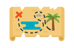 Wektorowej trasy drogowa mapa dla pirata skarbu Obrazy Stock