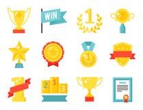 Wektorowej trofeum mistrza filiżanki ikony zwycięzcy nagrody sporta sukcesu płaskiej złocistej nagrodzonej najlepszy wygrany złot