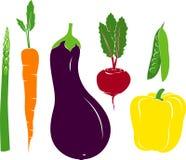 Wektorowej Veggies Szparagowej Marchwianej oberżyny Grochowego strąka Ćwikłowy Dzwonkowy pieprz ilustracja wektor