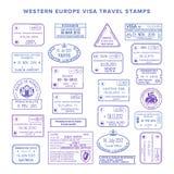Wektorowej zachodniej europy podróży wizy pospolici znaczki ustawiający ilustracja wektor