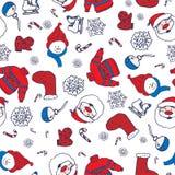 Wektorowej zimy bezszwowy wzór z bałwanem, pulowerem i płatkami śniegu, Obraz Stock