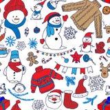 Wektorowej zimy bezszwowy wzór z bałwanem, pulowerem i płatkami śniegu, Zdjęcie Stock
