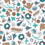 Wektorowej zimy bezszwowy wzór z bałwanem, pulowerem i płatkami śniegu, Zdjęcia Royalty Free