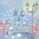 Wektorowej zimy Stary rynek w Praga, republika czech Fotografia Stock