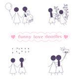 Wektorowi śmieszni miłość doodles ustawiający Zdjęcia Royalty Free