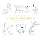 Wektorowi śmieszni plaż doodles ustawiający Zdjęcie Royalty Free