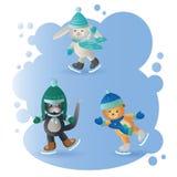 Wektorowi śmieszni zwierzęta jeździć na łyżwach na błękita lodzie ilustracja wektor