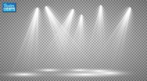 Wektorowi światła reflektorów scena skutków wielki światła przyjęcia występ Obrazy Stock