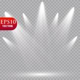 Wektorowi światła reflektorów scena skutków wielki światła przyjęcia występ Obraz Stock
