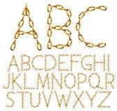 Wektorowi abecadło listy robić od złotego łańcuchu royalty ilustracja