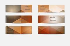 Wektorowi abstrakcjonistyczni horyzontalni sztandary inkasowi z geometrycznymi tło ilustracja wektor