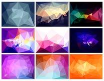 Wektorowi abstrakcjonistyczni poligonalni tła ustawiający Fotografia Stock
