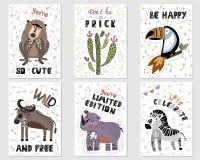 Wektorowi Afrykańscy kreskówek zwierzęta ilustracji