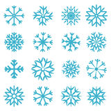 Wektorowi Błękitni płatki śniegu Ustawiający Obrazy Stock