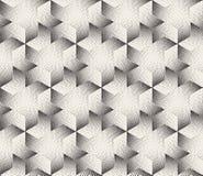 Wektorowi Bezszwowi Czarny I Biały lampasy Stippling Halftone Kropkują Heksagonalnego Trójgraniastego wzór Zdjęcie Royalty Free