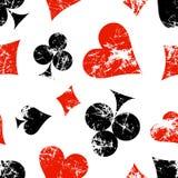 Wektorowi bezszwowi wzory z ikonami granie karty Kreatywnie geometryczna czerwień, czerń, biali grunge tła ilustracji