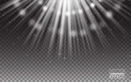 Wektorowi Biali promienie światło racy abstrakta ilustracja realistyczni projektów elementy Skutek na Przejrzystym tle Zdjęcie Stock