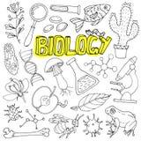 Wektorowi biologii nauki doodles ilustraci tylna szkoła Fotografia Stock