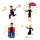 Wektorowi biurowi ludzie goni dla pieniądze setu ilustracji