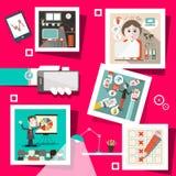 Wektorowi biznesów ekrany z technologii ikonami ilustracja wektor