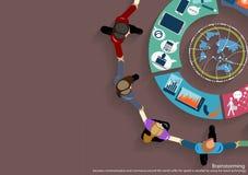 Wektorowi biznesmeni brainstorm spotkania w biurze i mobilnej pastylki technologii komunikować z klientami na całym świecie Obraz Royalty Free