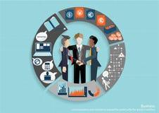 Wektorowi biznesmeni brainstorm spotkania w biurze i mobilnej pastylki technologii komunikować z klientami na całym świecie ilustracji
