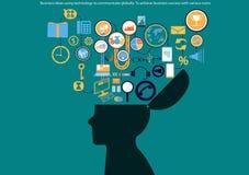 Wektorowi biznesowi pomysły używać technologię komunikować globalnie dokonywać biznesowego sukces z różnorodnych ikon płaskim pro ilustracja wektor
