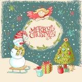 Wektorowi Boże Narodzenia i nowego roku kartka z pozdrowieniami Obraz Royalty Free