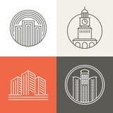 Wektorowi budynków i domów logowie Obrazy Stock