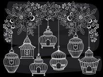 Wektorowi Chalkboard Birdcages Wiesza od kwitnienie gałąź royalty ilustracja