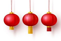Wektorowi Chińscy tradycyjni wiszący czerwoni lampiony ilustracja wektor