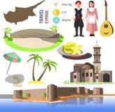 Wektorowi Cypr symbole, ikony i ilustracji