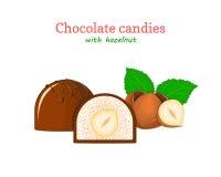 Wektorowi czekoladowi cukierki ilustracyjni Set dwa czekolady i kawałek całej pierś z słodkimi hazelnuts deliciouses ilustracji