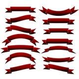 Wektorowi Czerwoni faborki Tasiemkowy sztandaru set ilustracji