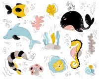 Wektorowi denni zwierzęta ilustracji