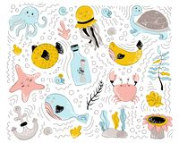 Wektorowi denni zwierzęta royalty ilustracja