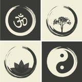 Wektorowi Duchowi logowie Ustawiająca ilustracja z Hinduskim słowem Om Obrazy Stock