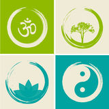 Wektorowi Duchowi logowie Ustawiająca ilustracja z Hinduskim słowem Om Obrazy Royalty Free